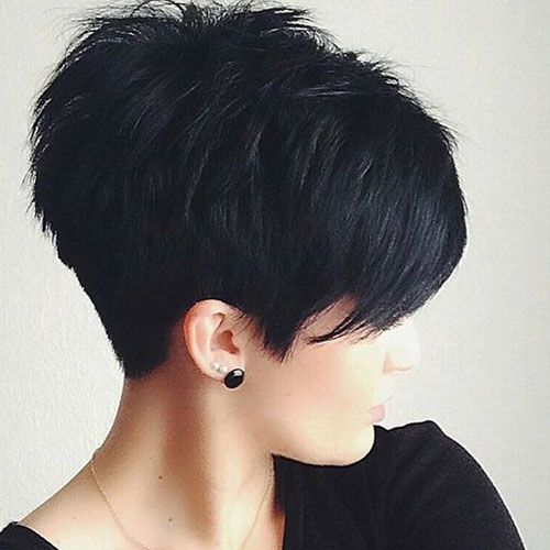 Short Layered Black Pixie Haircut