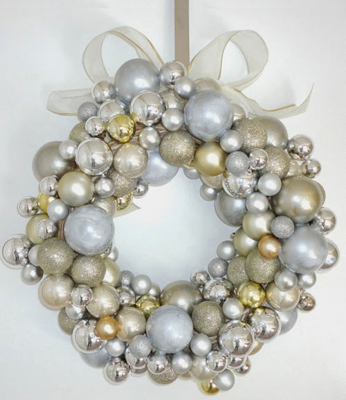 Silver and Gold Ornament Christmas Wreath