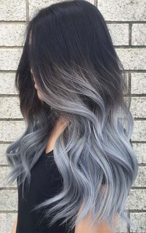 Silver to Black Ombre