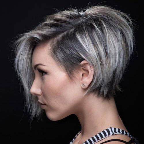 Stacked Pixie Cut with Bangs