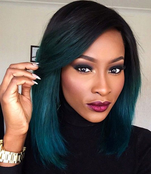Teal Ombre - Black to Teal Ombre Hair Color