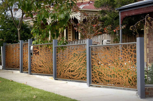 Unique Metal Patterned Fence
