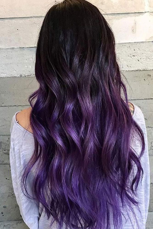 Vibrant Hair Color for Dark Hair - Ombre for Dark Hair - Black to Purple Hair Color