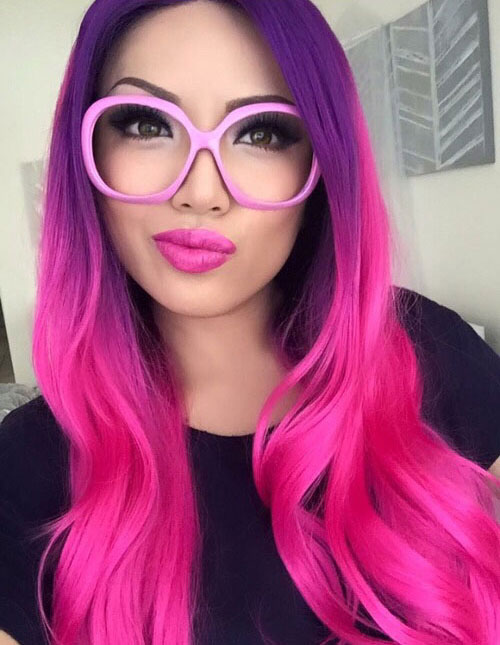 Vibrant Ombre Hair Colors - Purple to Pink Ombre Hair