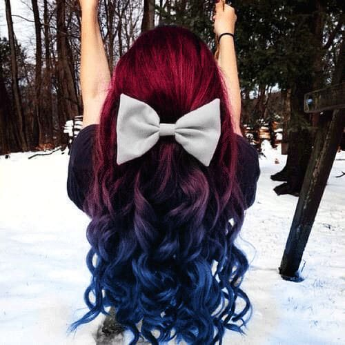 Vibrant hair Color - Blue to Red Ombre