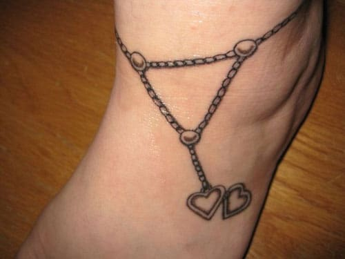 Anklet Tattoo Design with Hearts