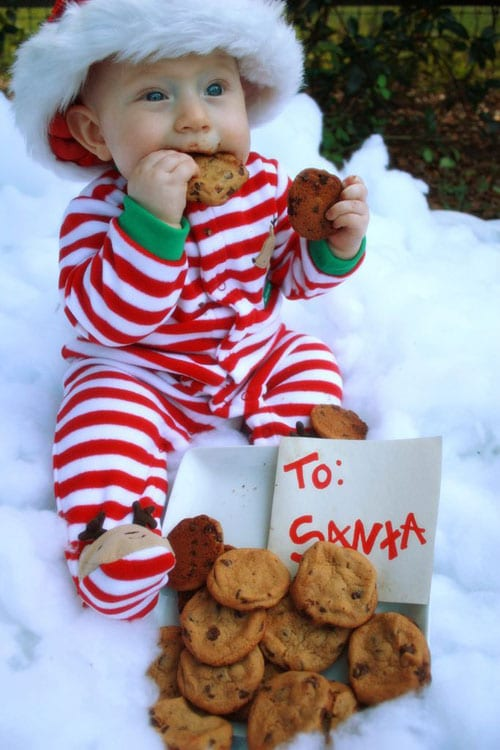 Baby Christmas Photo Ideas - Santa Cookies and Baby