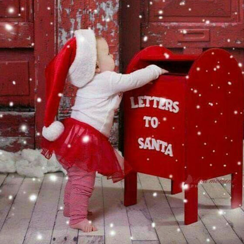 Baby Christmas Picture Idea - Sending Letter to Santa Photo