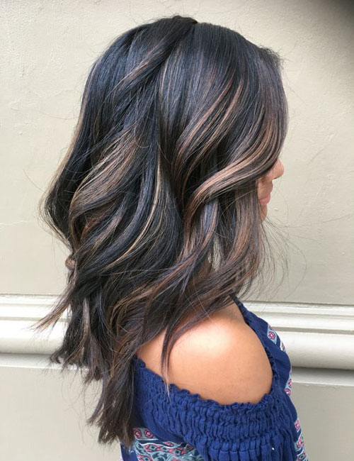 Balayage for Dark Hair - Black Hair with Brown Balayage Highlights