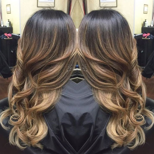 Balayage for Dark Hair - Deep Brown Hair with Caramel Highlights