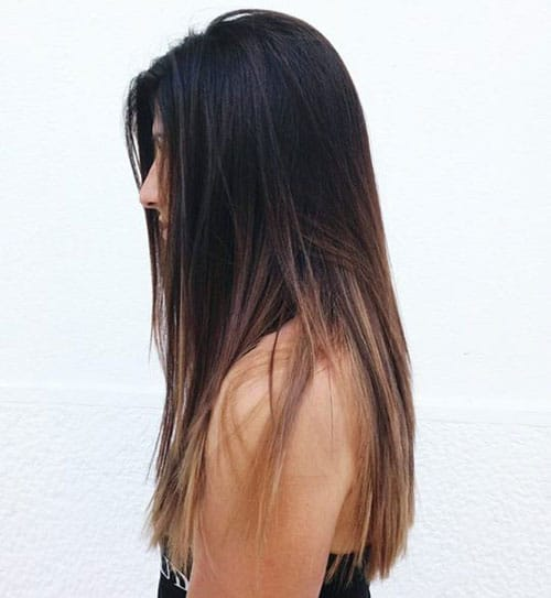 Black Hair to Caramel Balayage - Straight Hair Balayage