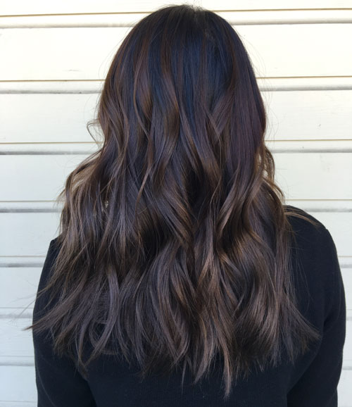 Black and Dark Brown Balayage