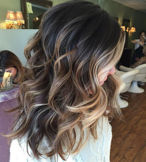 Brunette Hair Balayage With Highlights For Dark