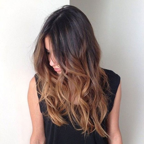 Caramel Balayage on Black Hair - Dark Hair Balayage