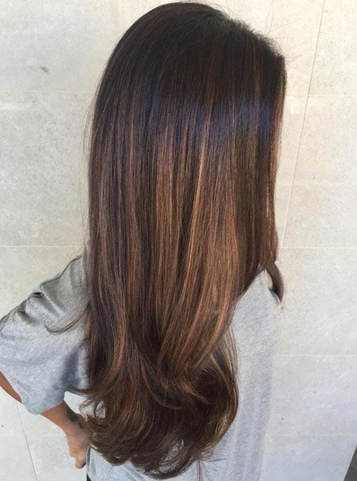 Caramel Balayage on Brunetter Hair - Straight Hair Balayage
