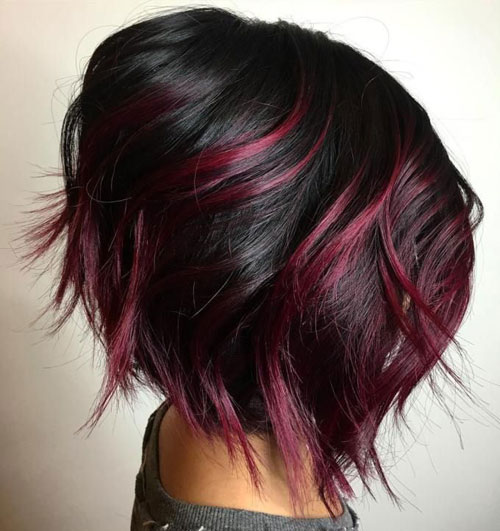 Cherry Red Balayage for Black Hair - Dark Balayage Short Hair
