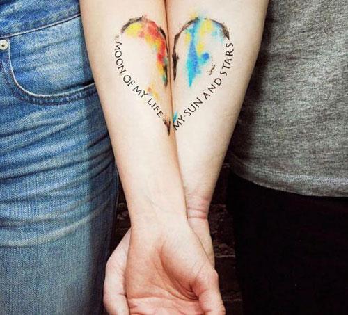 Couples Heart Tattoo Design