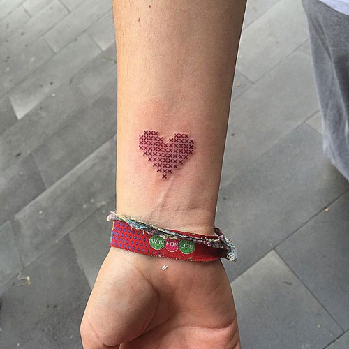 Cross Stitch Heart Tattoo - Small Heart Tattoo on Wrist