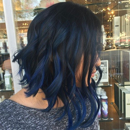 Dark Blue Balayage on Black Hair - Balayage on Dark Hair - Best Balayage for Dark Hair