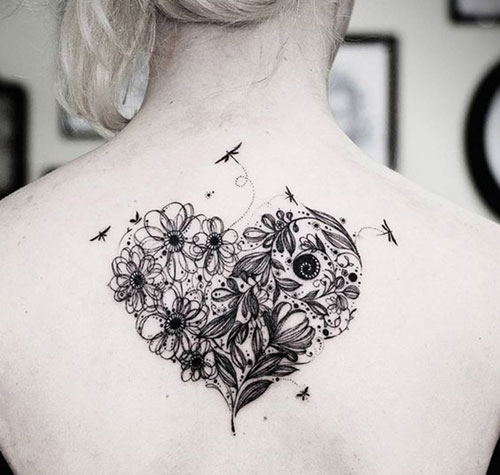a68334dcb Gorgeous Detailed Heart Tattoo - Large Heart Tattoo on Back - Flower and  Dragonfly Heart Tattoo