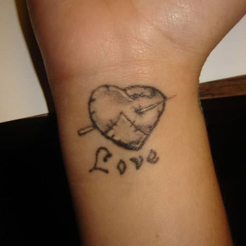 Heart Tattoo Designs - Mended Heart Design - Heart Tattoo on Wrist
