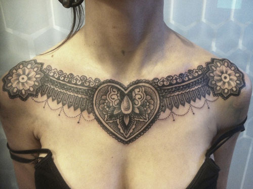 Heart Tattoo Ideas - Heart Tattoo on Chest