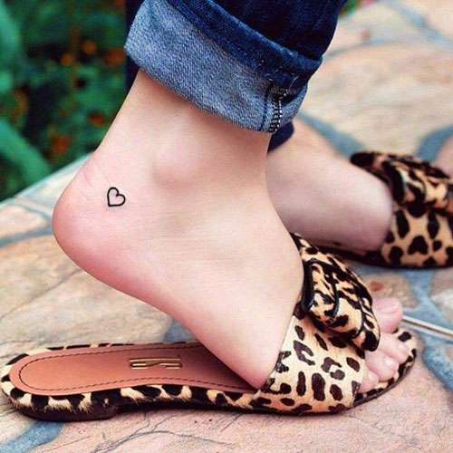 Heart Tattoo Ideas - Mini Heart Tattoo on Ankle