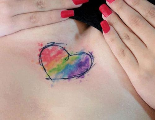 Heart Tattoo Ideas and Designs - Rainbow filled Heart
