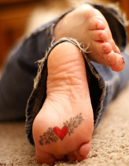 Heart Tattoo on Bottom of Foot - Cute Heart Tattoo Ideas