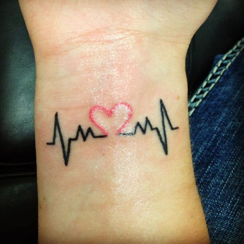 Heartbeat Tattoo - Pink Heart Tattoo Design - Small Tattoos on Wrist
