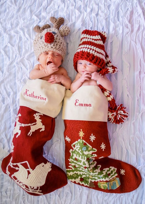 Newborn christmas photoshoot newborns in stockings