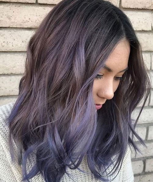 Purple Balayage for Dark Hair - Short Hair Balayage