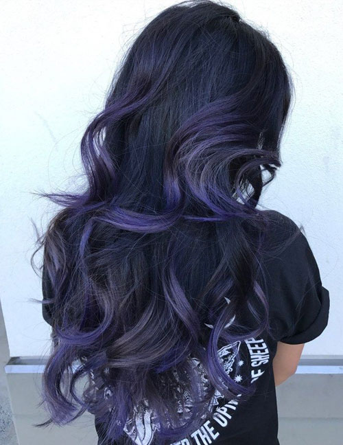 Purple Balayage on Black Hair - Black Hair Balayage