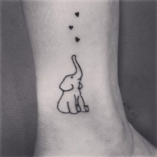 Simple Elephant Tattoo with Hearts - Heart Tattoo Ideas