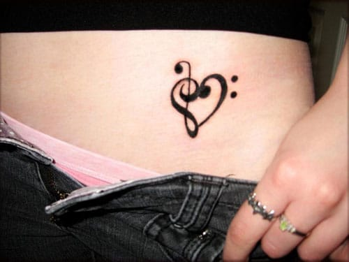 Small Heart Tattoo for Women - Love for Music Tattoo