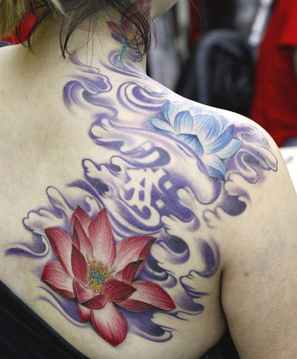 Beautiful Red Lotus and Blue Lotus Tattoo