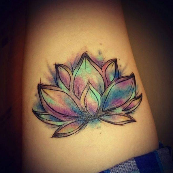 Beautiful Watercolor Lotus Flower Tattoo