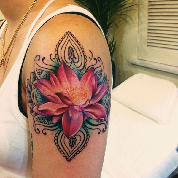 Detailed Red Lotus Flower Tattoo Design