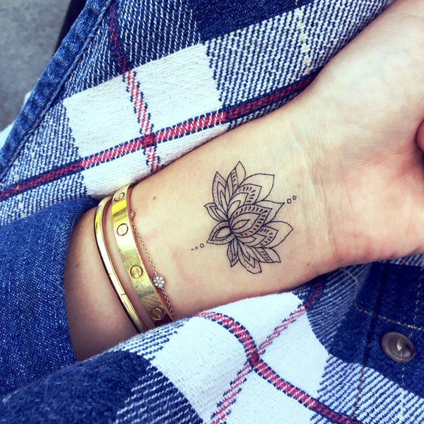 Detailed Small Wrist Lotus Flower Tattoo