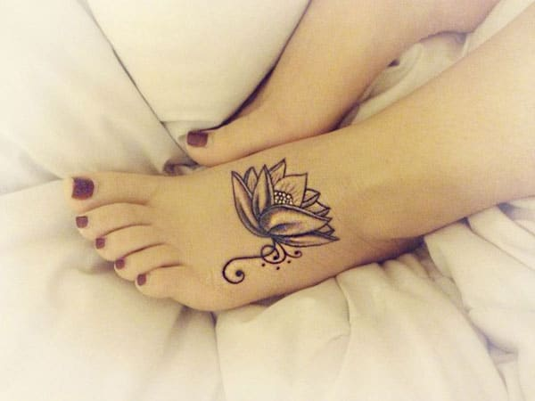Feminine Lotus Flower Tattoo on Foot