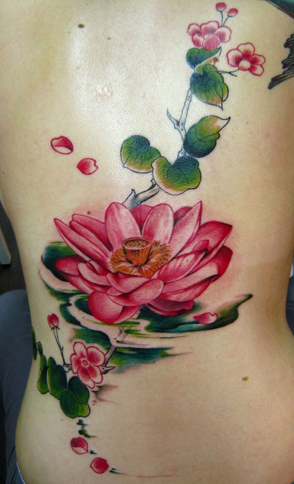 Full Back Lotus Flower Tattoo - Lotus Tattoo Ideas