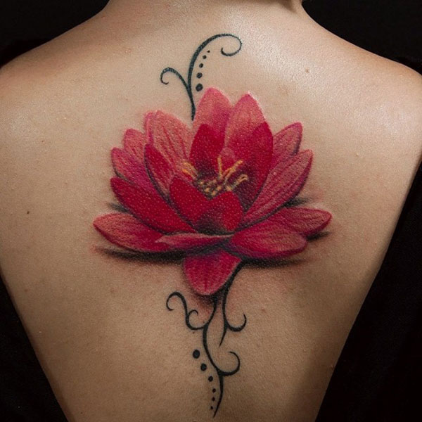 Gorgeous Large Red Lotus Flower Tattoo