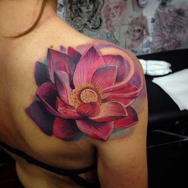 Gorgeous Purple and Red Lotus Flower Tattoo