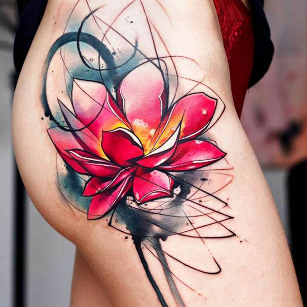 Lotus Flower Thigh Tattoo - Gorgeous Red Lotus Flower