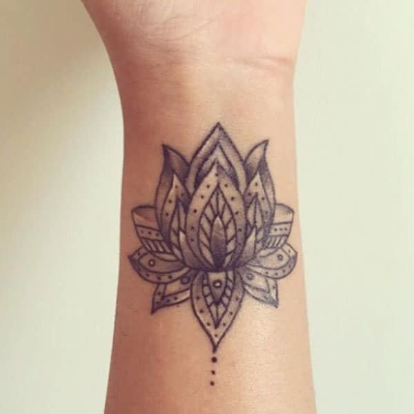 Mandala Lotus Wrist Tattoo Idea