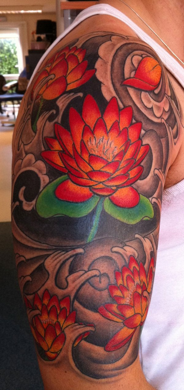 Multiple Lotus Flower Tattoos - Red Lotus Flower Tattoo
