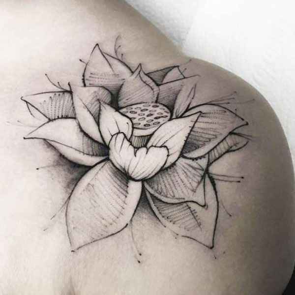 Realistic Lotus Flower Tattoo Design and Ideas