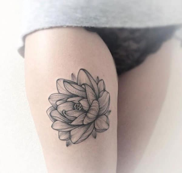 Realistic Lotus Flower Tattoo - Lotus Thigh Tattoo