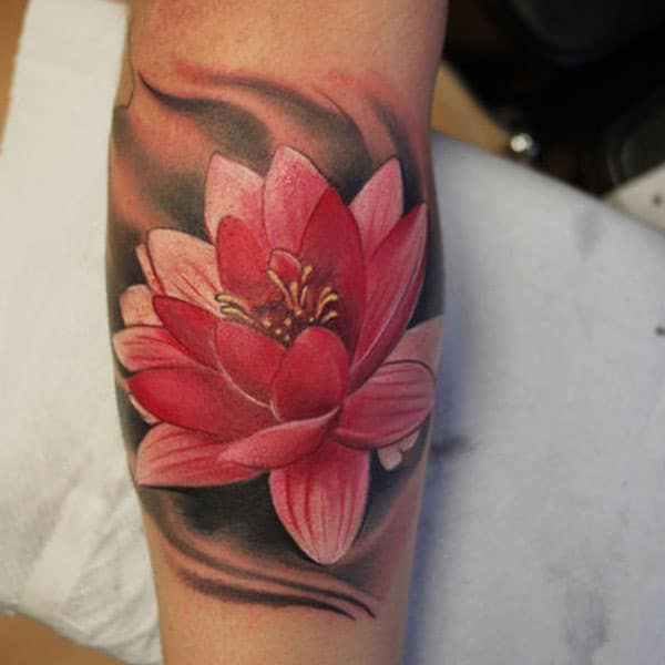 Red Lotus Forearm Tattoo