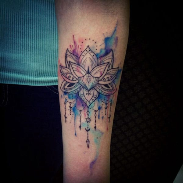 Watercolor Blue Lotus Flower Tattoo Forearm